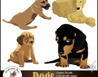 Dogs Mix Clipart set 1 - with 4 graphics - golden doodle labradoodle dachshund [INSTANT DOWNLOAD]