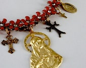 Blessed Mary reliquary assemblage necklace . repurposed vintage 50s 60s red flowers rhinestones mustard seed religious medals ooak gift