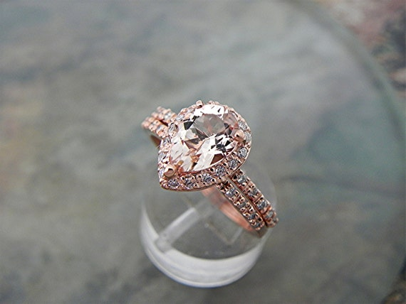 9x7mm  1.56 Carat AAA Pear shape Natural untreated Salmon Peach Morganite in 14K Rose gold bridal set with .50cts of diamonds. B107 1512