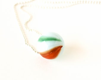 Vintage white green and red glass marble silver ball chain long necklace