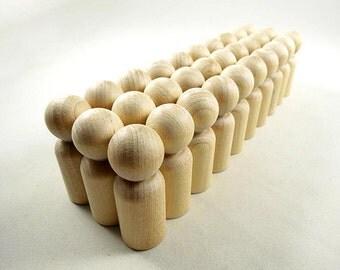20 Wood Peg Dolls - Dads - Unfinished Wooden Peg Dolls for DIY
