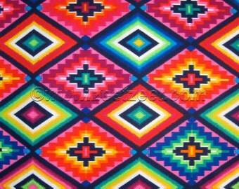 OJO DE DIOS Pink (God's Eye) Alexander Henry Mexican Folk Art Cotton Quilt Fabric - by the Yard, Half Yard, or Fat Quarter Southwestern