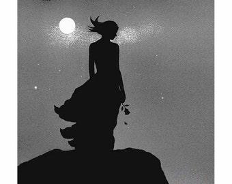 Romantic art, print, painting, woman, separation, broken love, romance, loneliness, broken heart,  black and white art, lady in love