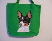 Reuseable Canvas tote with a Rat Terrier Dog