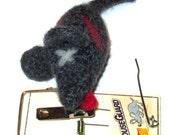 Gray Felt DEAD Catnip Mouse - 100% Wool & Catnip
