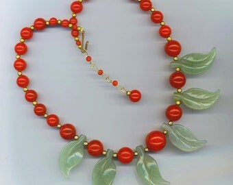 Vintage Red Cherry Bakelite Statement Necklace . Green Aventurine Carved Leaves . Art Deco - Cherry Fruit Necklace by enchantedbeads on Etsy
