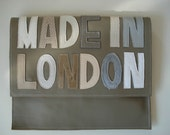 Handmade City Clutch in putty leather with mixed applique text