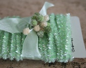 Mini Tinsel Trim Mint - 12 Feet Lovely Spring Mint Tinsel Trim - Narrow Packaging Mini Tinsel String - Wedding Trim - Easter Decoration