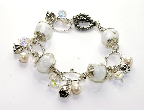 "White Lampwork Bracelet, beaded bracelet, white silver bracelet, glass bead bracelet, womens jewelry -  8.9"" long"
