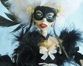 Black and White Ball posable OOAK Art Doll from Moninesfaeries