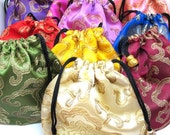 Drawstring pouch, Satin Drawstring bag, Silk Drawstring bag, Oriental Drawstring Bag