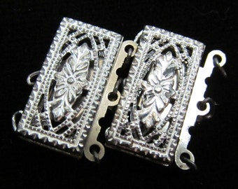 Gorgeous vintage Filigree Rectangle Clasps