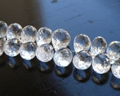 Topaz Gemstone Briolette Clear White Faceted 3 D TearDrop Top Drilled 9mm 17 Beads