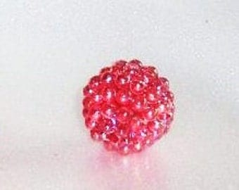20 mm Red Acrylic Berry Beads, AB Red Color, Qty of 100, Vintage Plastic Gumball Beads