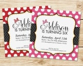 DIGITAL Invitation Inspired by Minnie Mouse - DIGITAL FILE - Red or Pink with Classic Polka Dots, Stripes, Minnie's Bow