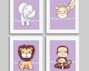B aby boy nursery zoo animals, nursery art, nursery decor, baby print, kids wall art,kids decor, giraffe, lion, monkey set, 4 prints