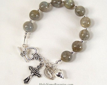 Labradorite Rosary Bracelet Miraculous Medal Chaplet Prayer Beads Holy Name Rosaries