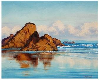 ORIGINAL OIL PAINTING Oregon Beach Painting  on Canvas Impressionist Seascape Paintings