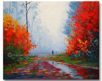 LARGE OIL PAINTING Autumn landscape Trees Painting impressionism by Graham Gercken