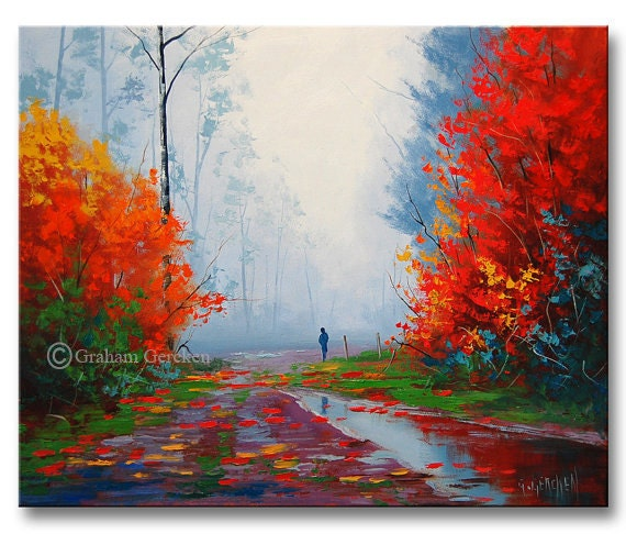 Extrem GRANDE peinture à lhuile paysage dautomne limpressionnisme VE87