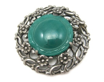 Vintage Coro Brooch - Chrysoprase Glass