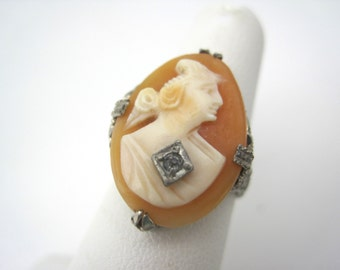 Cameo Ring - Carved Shell Woman with Necklace - Sterling Silver Filigree