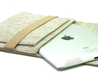 iPad sleeve with flap and front pocket, handmade