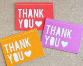 Note Card Set / Thank You / Heart / Brights / A6 / Set of 6