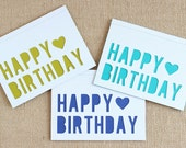 Note Card Set / Happy Birthday / Heart / White / A6 / Set of 6
