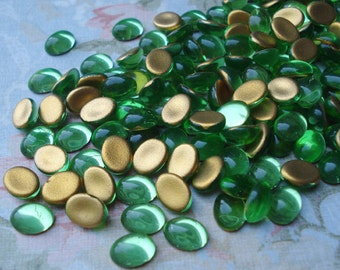 8x6mm Peridot Lime Green Gold Foiled Flat Back Glass Oval Cabs (12 pieces)