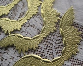 German Dresden Trim 6 Gold Angel Wings Die Cut And Deeply Embossed