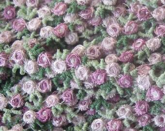 "2 Yards Venise Lace Pale Lavender Rosebud Ribbon Trim 3/8"" Wide Roses V-22"