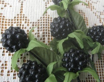 6 Millinery Fruit Composition Blackberries Austria
