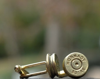 Bullet shell Cufflinks, Hornady 50AE gold cuff links crafted from repurposed shell casings