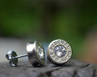 Bullet Earrings stud earrings or post earrings bullet jewelry Federal .380 auto, silver earrings MANY different colors of Swarovski crystals