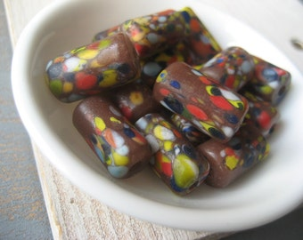 lampwork Glass beads, brown tube glass beads, Confetti speckled design, matte tube  indonesia  6 pcs  / 16 to 18 mm x 9 to 10 mm   - 3bbgl27