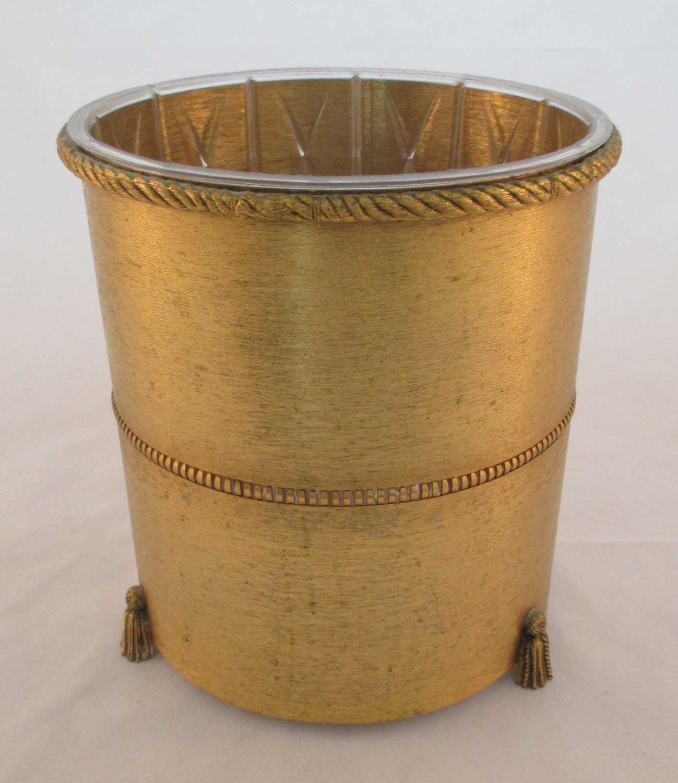 vintage ormolu gold brass trash can dressing room bathroom