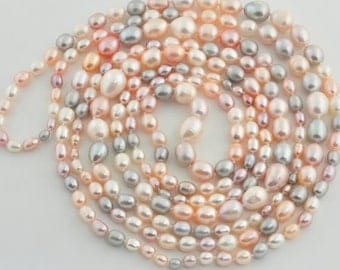 FW Multi Color Cultured Pearl Knotted Necklace 73""