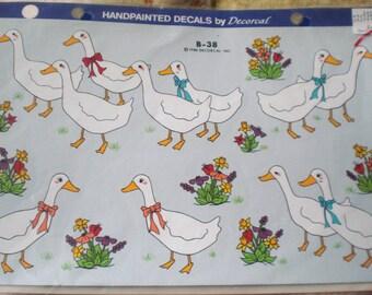 Handpainted Springtime Geese or Ducks with Flowers Waterslide Decal