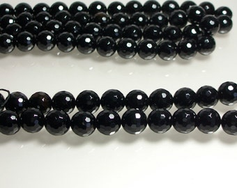 Black Onyx Beads, Black, 14mm, Round, Faceted, Strand, Jewelry Beads, Jewelry Supplies, Jewellery Supplies