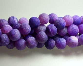 14MM Beads, Round, Purple Crackle Agate, Matte Finish, Semi Precious, GEMSTONES, Strand, Jewelry Supplies, Jewellery Supplies