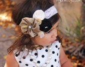 Baby headband- girls headband- M2M persnickety nob hill light pink/peach stretch lace headband with black, tan and cream designs