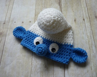 Custom Crochet Smurf Baby Hat