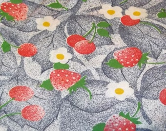 Vintage 70s Strawberries and Daisies Cotton Blend Knit Fabric, Over 1 Yard