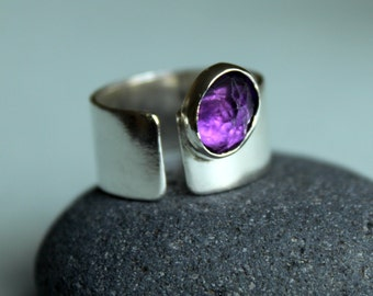 Spring Purple Pansy Amethyst Ring Sterling Silver Jewel February Birthday  Birthstone Ring Handmade