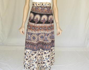 Vintage 70s India Cotton Boho Wrap Skirt