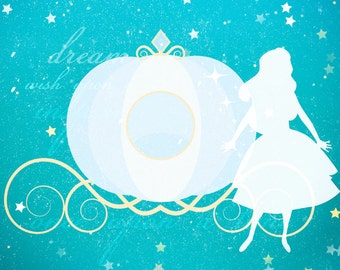 Cinderella princess clipart graphic - princess clipart, pumpkin carriage, for invitations, scrapbooking personal and commercial use