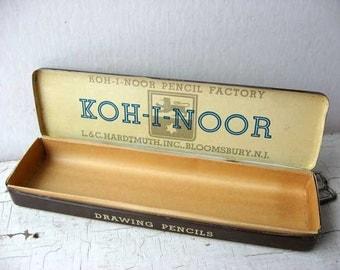 Vintage 1950's Koh-I-Noor Drawing Pencils Tin Advertising Box, Bloomsbury NJ