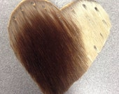 """Brown and White Heart Cowhide Leather Patch 3"""""""