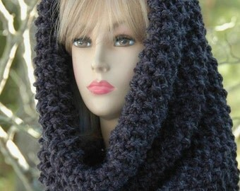 Charcoal Gray Chunky Scarf, Knit Infinity Scarf Cowl, Hood, Knitted Circle Scarf, Oversized Cowl Scarf, Men's Scarf, Women's Scarf,  Wool
